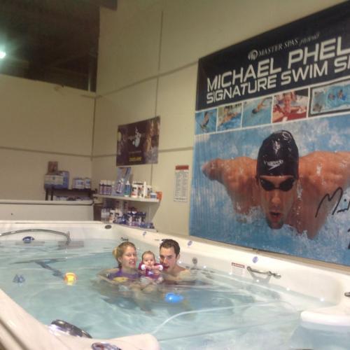 Swim spa at showroom