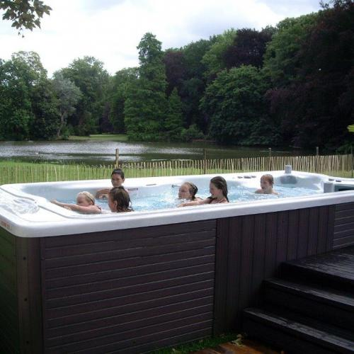 Semi sunken hot tub