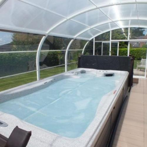 Interior of covered swim spa